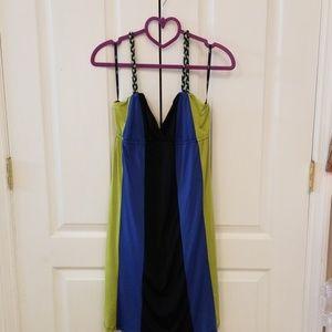 Sele Macy's halter colorblock dress NWT